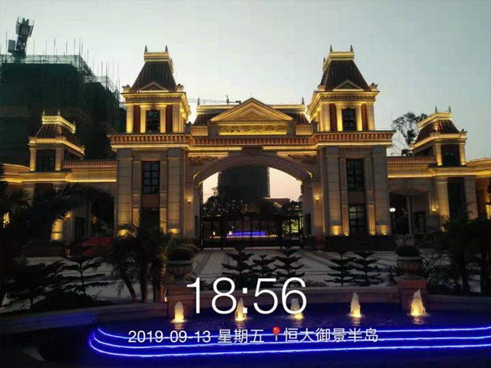 广西防城港恒大地产夜景,广西轮廓灯厂家,广西LED洗墙灯厂家,LED护栏管