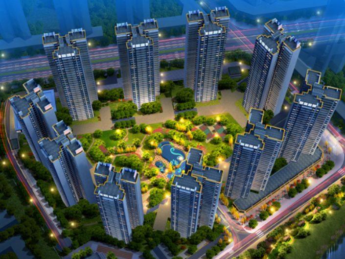 惠州碧桂园公园上城夜景,投光灯厂家,深圳轮廓灯,无缝对接轮廓灯