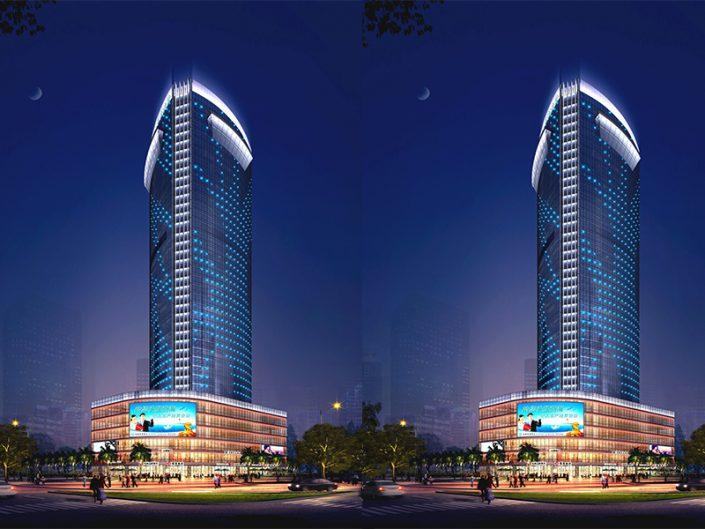 佛山坚美华大厦夜景,灯光设计,LED无缝对接轮廓灯