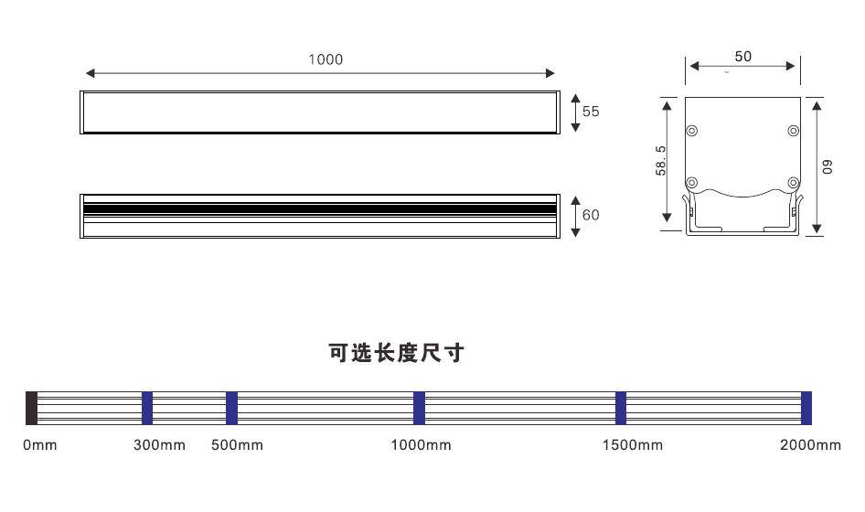 轮廓灯尺寸图,LED轮廓灯二维图